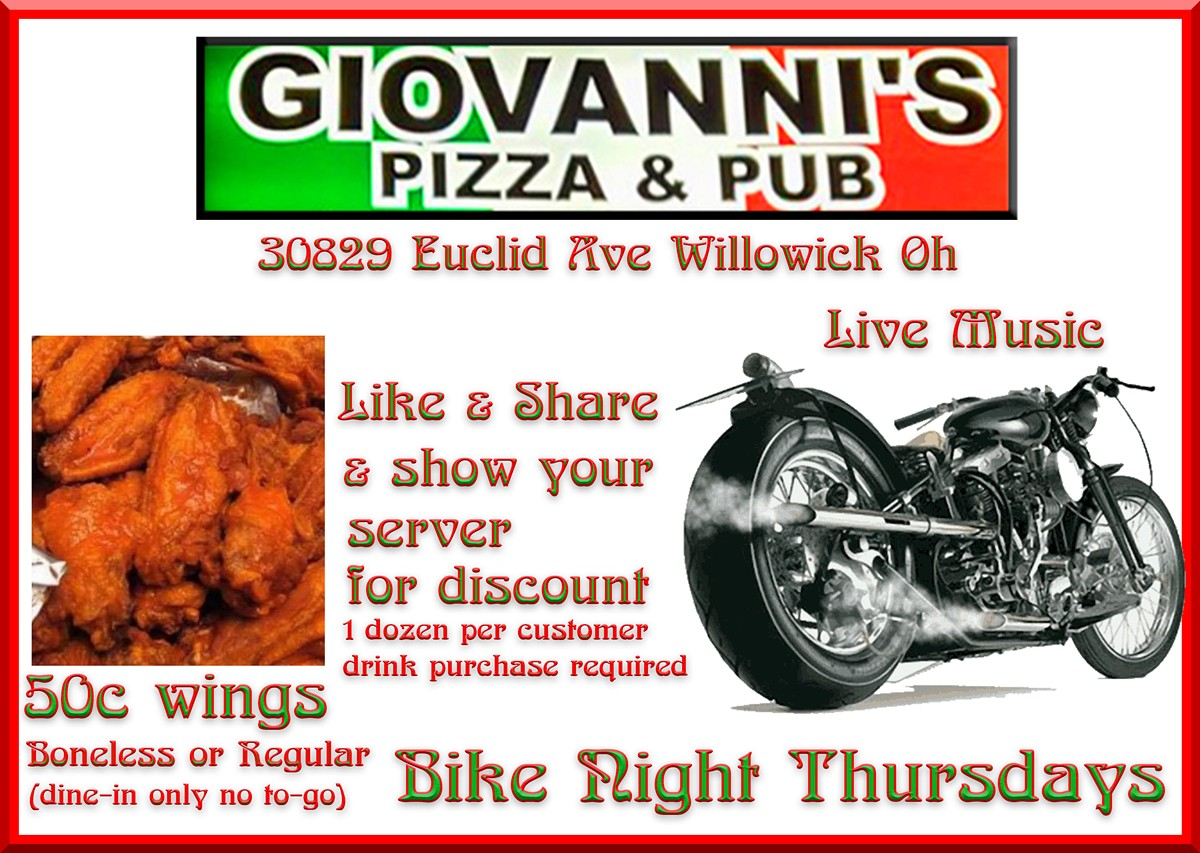 50 cent wings for sharing this event.  Show bartender