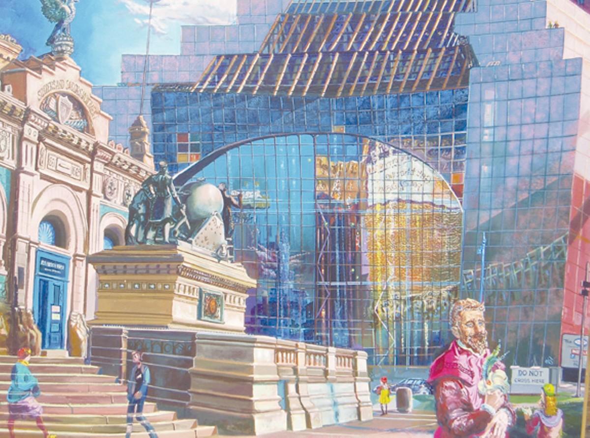 """""""Cleveland Renaissance Visitors,"""" oil on canvas, c. 1990"""