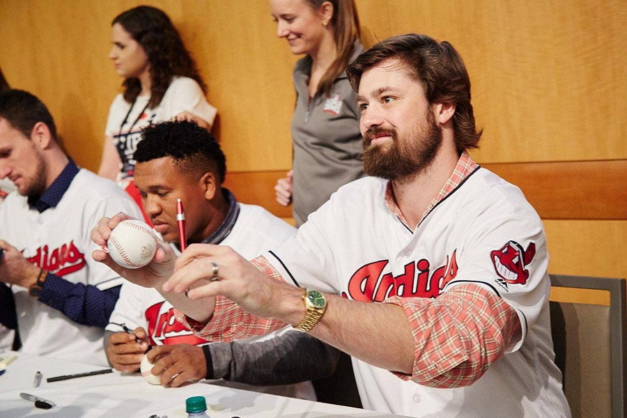 Andrew Miller and Jose Ramirez sign autographs for fans at the 2017 TribeFest - PHOTO VIA CLEVELAND INDIANS/FACEBOOK