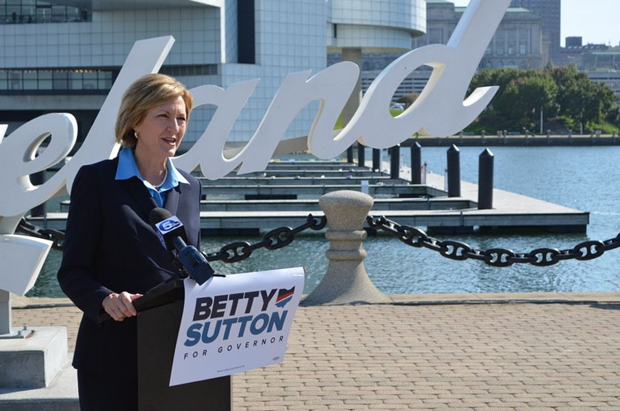 Betty Sutton speaks in downtown Cleveland about her advancing gubernatorial campaign. - ERIC SANDY / SCENE