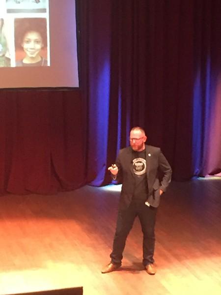 James Hardy, speaking at Flashstarts' Pitch NEON event, (9/10/18). - SAM ALLARD / SCENE