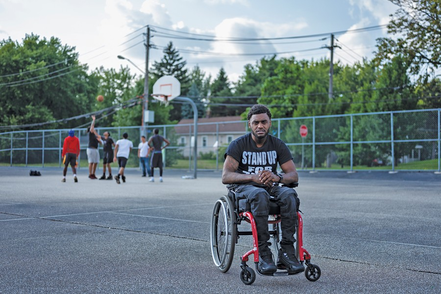 Antonio Mason was a student and basketball player at Cuyahoga Community College when he was paralyzed from the chest down by a drunk driver. He was denied compensation because, when he was 16, he was convicted in juvenile court of drug trafficking. - PHOTO BY MICHAEL MCELROY