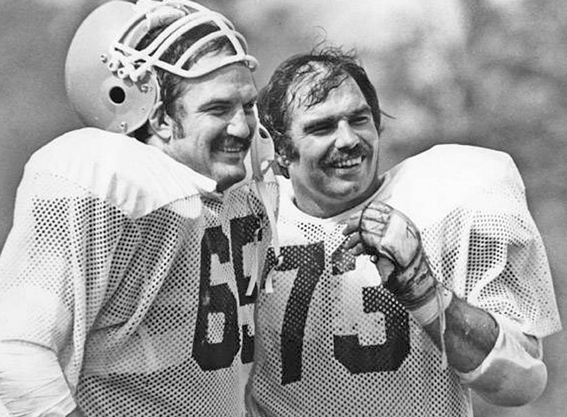 Henry Sheppard, left, and Doug Dieken of the Cleveland Browns share a laugh. - PHOTO COURTESY OF CLEVELAND MEMORY PROJECT