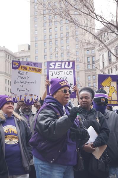 Janitors rally before a Trolley tour, (4/4/19). - SAM ALLARD / SCENE