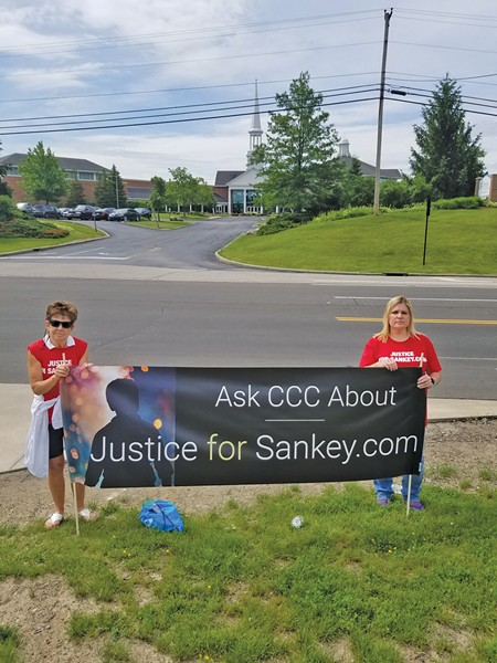 Cari Gintz and Sarah Klingler outside Christ Community Chapel in June. - PHOTO COURTESY SARAH KLINGLER