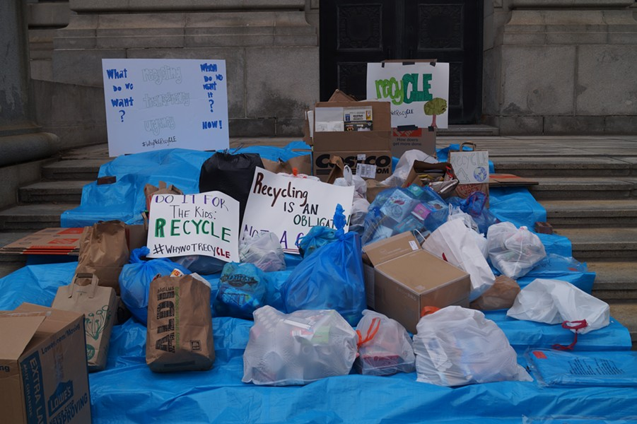 Clevelanders dropped off bags of recycling at City Hall to express anger at the lapsing of the curbside recycling program, (5/4/20). - SAM ALLARD / SCENE