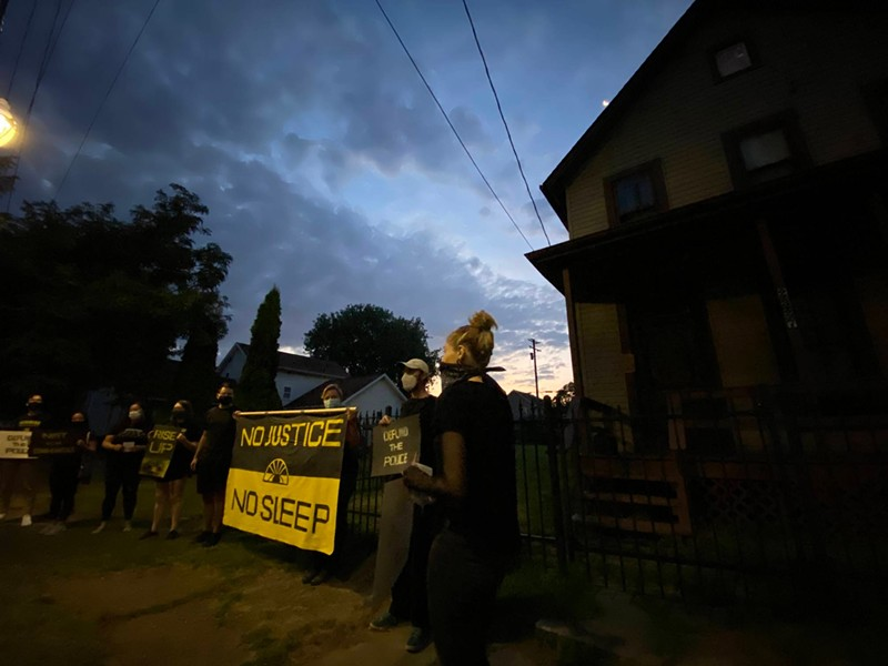 Youth activists protest outside Mayor Frank Jackson's home at 6 a.m. (8/14/2020) - COURTESY SUNRISE MOVEMENT CLEVELAND