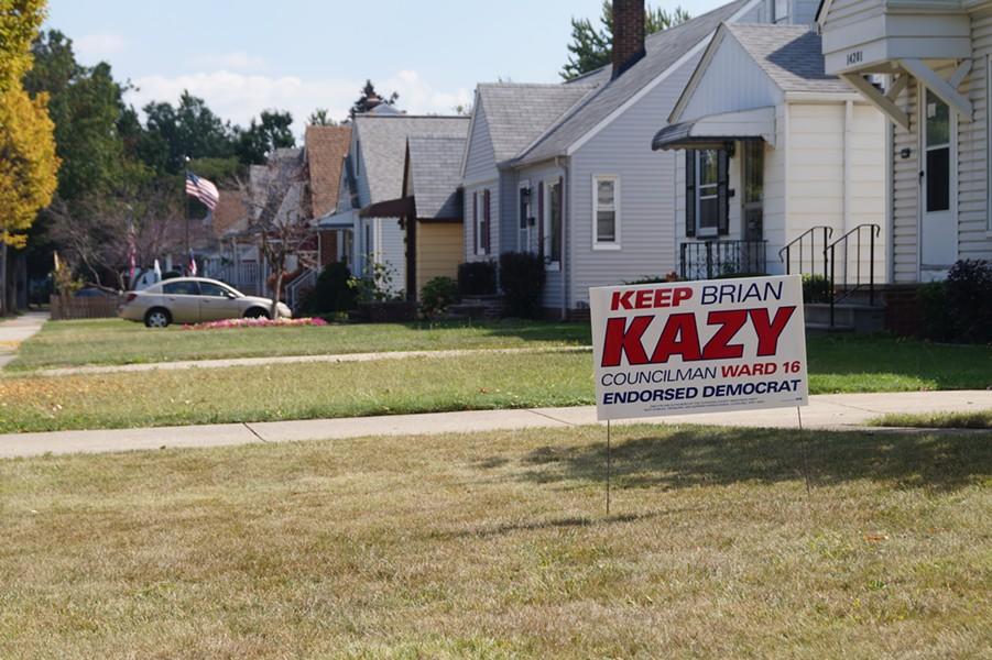 Brian Kazy yard sign in Ward 16. - SAM ALLARD / SCENE