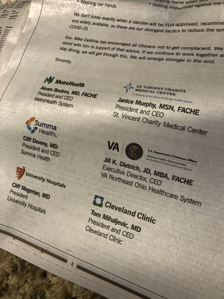 Full-page ad in PD from local hospital execs ,(11/15/20). - SAM ALLARD / SCENE
