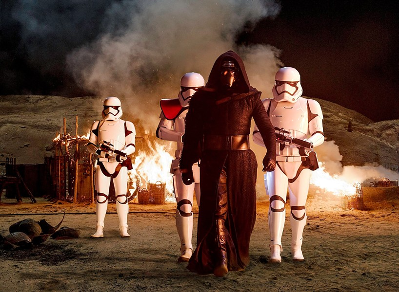 Kylo Ren and the storm troopers.