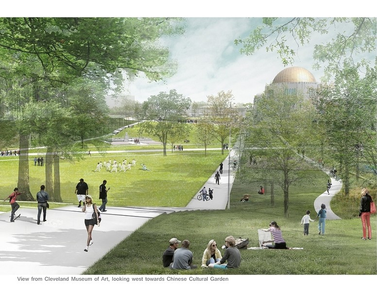 A rendering of the planned project from the Cleveland Museum of Art, looking west toward the Chinese Cultural Garden. - PHOTO BY SASAKI ASSOCIATES