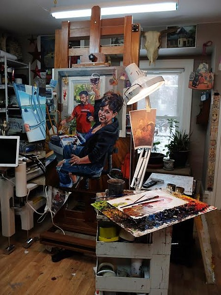Sarah Curry's self-portrait in progress in her Cleveland Heights studio. Oil on canvas. photo credit, GM Donley