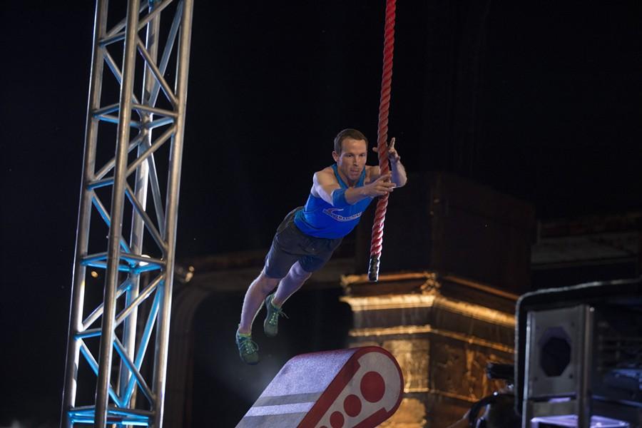 Logan Broadbent running through last year's American Ninja Warrior  obstacle course in Philadelphia. - PHOTO COURTESY NBC