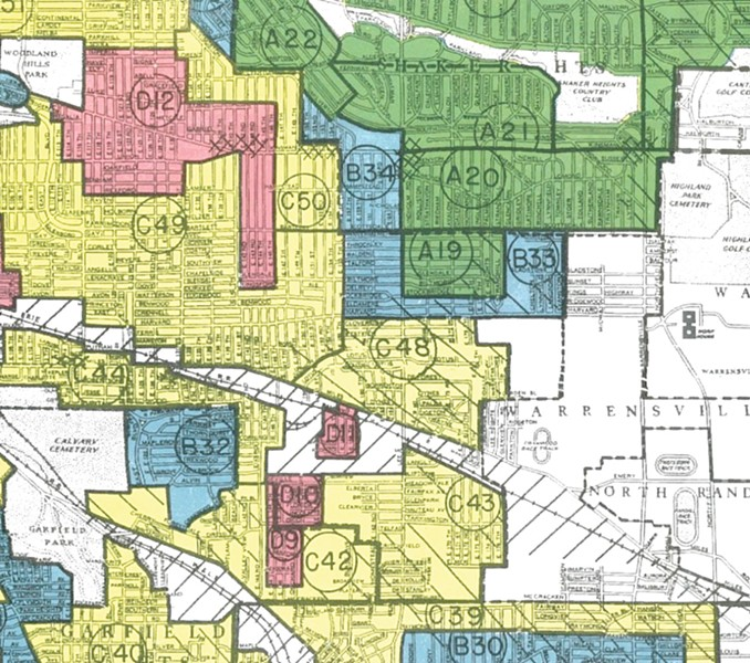 "Detail of ""Residential Security"" (redlining) map created by the Home Owners Loan Corporation, 1940, showing Lee-Harvard area (Courtesy of the National Archives II, College Park, Maryland)"