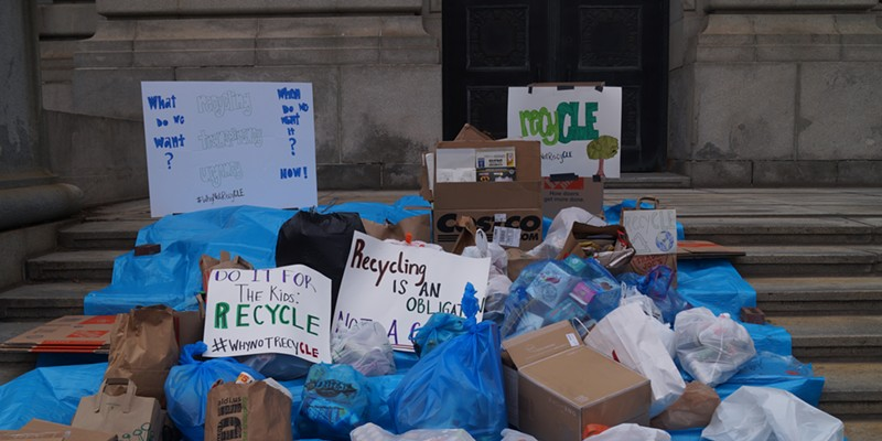 Clevelanders dropped off bags of recycling at City Hall to express anger at the lapsing of the curbside recycling program, (5/4/20).