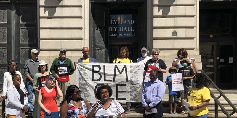 Brenda Bickerstaff speaks on the steps of Cleveland City Hall.