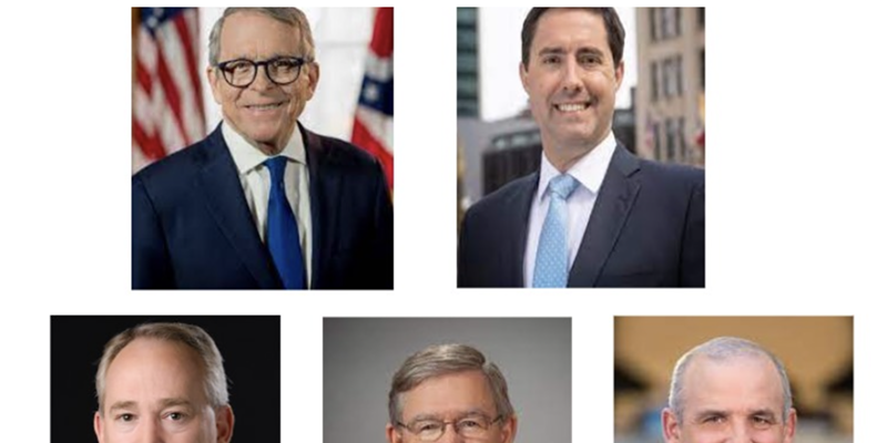 The Republican majority members of the Ohio Redistricting Commission. Top row from left, Ohio Gov. Mike DeWine and Secretary of State Frank LaRose. Bottom row from left Ohio Auditor Keith Faber, House Speaker Bob Cupp, and Senate President Matt Huffman.