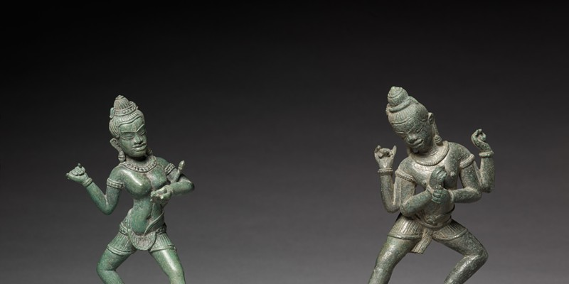 Shamvara and A Dakini, c. 1100. Cambodia, Angkor, 11th century. Bronze; overall: 14.8 cm (5 13/16 in.). The Cleveland Museum of Art, Leonard C. Hanna, Jr. Fund 1985.92