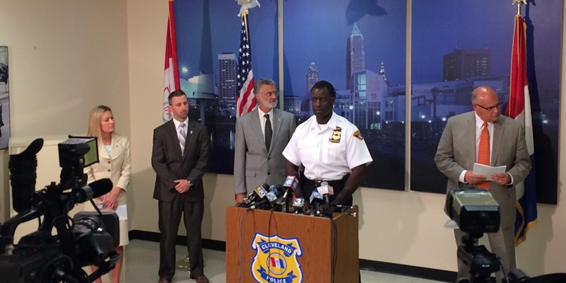 Chief Williams with Mayor Jackson, police public information officer Jennifer Ciaccia and others