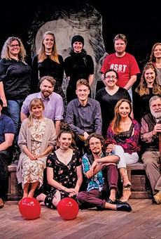 The Dobama staff and cast of Stupid F**king Bird share the stage before the opening night of their landmark 60th season. Artistic director Nathan Motta is far left, in the T-shirt.