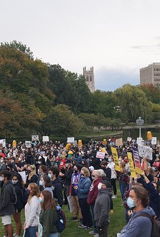 Roughly 500 people gathered on the Wade Lagoon before the Cleveland Presidential Debate, (9/29/20).