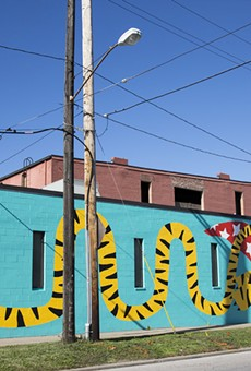 "Artist Michela Picchi's colorful ""Tiger"" mural in Hingetown."