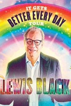 Promo graphic for Lewis Black's upcoming comedy tour.