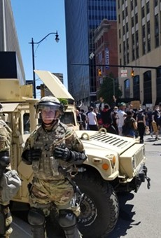 The Ohio National Guard stands post in downtown Columbus last year. Photo by Marty Schladen.