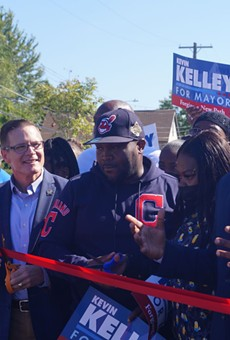 Council President Kevin Kelley and Councilman Basheer Jones cut ribbon at Carrie Cain Park in Ward 7 after Kelley receives Jones' endorsement, (9/29/21).