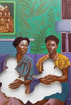 Not My Burden, 2019. Titus Kaphar (American, b. 1976). Oil on canvas; 167.6 x 153 cm. © Titus Kaphar. Image courtesy of the artist and Gagosian. Collection of Ellen Susman, Houston, Texas. Photo: Rob McKeever