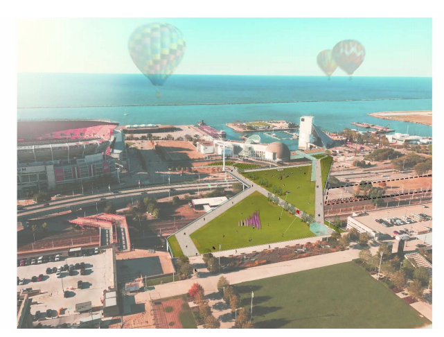 Aerial view of proposed land bridge connecting downtown and the lakefront. - IMAGE COURTESY GREEN RIBBON COALITION