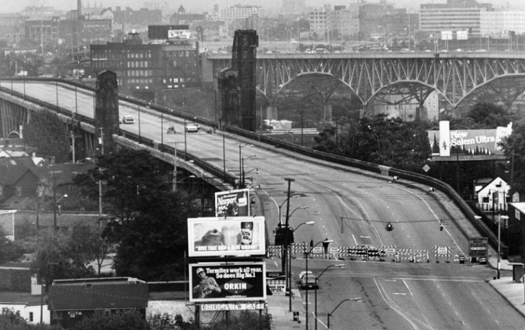Lorain-Carnegie Bridge from the West Side Market, 1980.