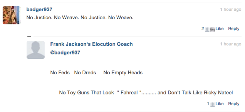 Screengrab of comment section of a Tamir Rice story, via TNR