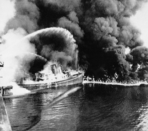 Photos from the 1952 Cuyahoga River fire, like this one, were often erroneously used to illustrate stories of the 1969 blaze.