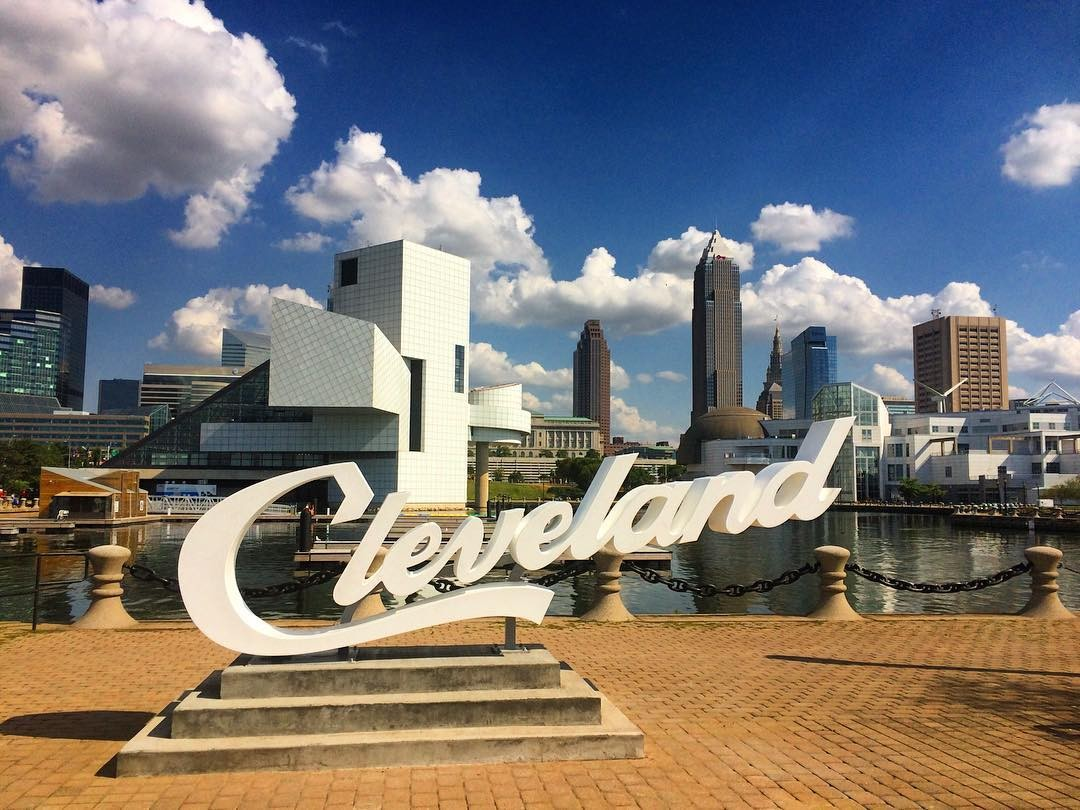 all three cleveland script signs now installed around city scene
