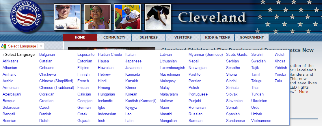The city's website can be translated into a wide array of languages.