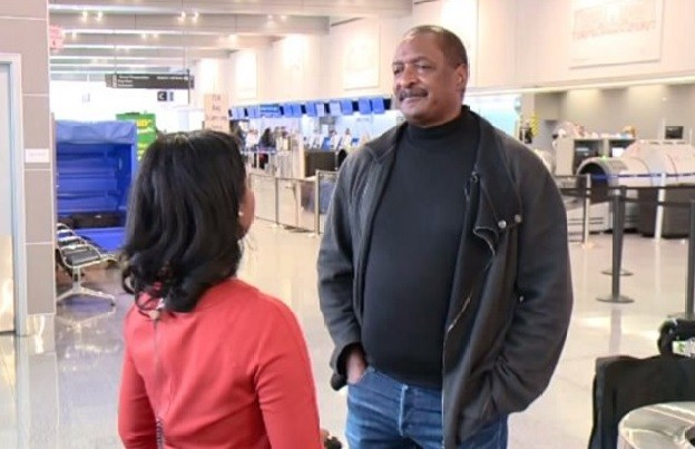 A FOX 8 reporter interviews Mathew Knowles, Beyoncé's father, in this screenshot.