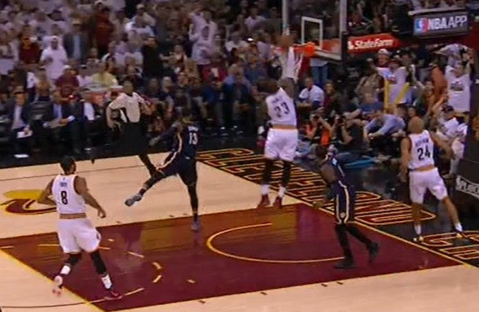LeBron cashes a turnover with authority that was sometimes missing from Cavs' efforts.