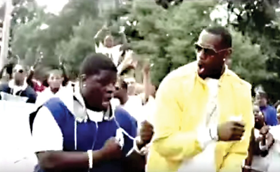 """new product 02230 6d2d9 Video Still from """"Came Down"""" music video featuring Lebron James and Al Fatz  dancing side by side."""