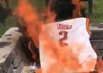 low priced ec6f6 62496 People are Actually Burning Kyrie Irving's Jersey | Scene ...