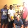 Gary Barnidge, far right,  with some fellow moviegoers.