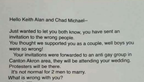 Canton Couple Receives Anti-Gay Letter in Response to Wedding Invite That Went to the Wrong Address