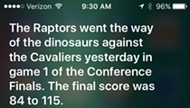 Ask Siri What Happened to the Toronto Raptors Last Night Against the Cavs