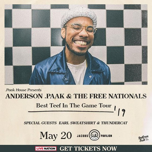 Win a pair of tickets to see Anderson .Paak at Jacobs Pavilion at Nautica
