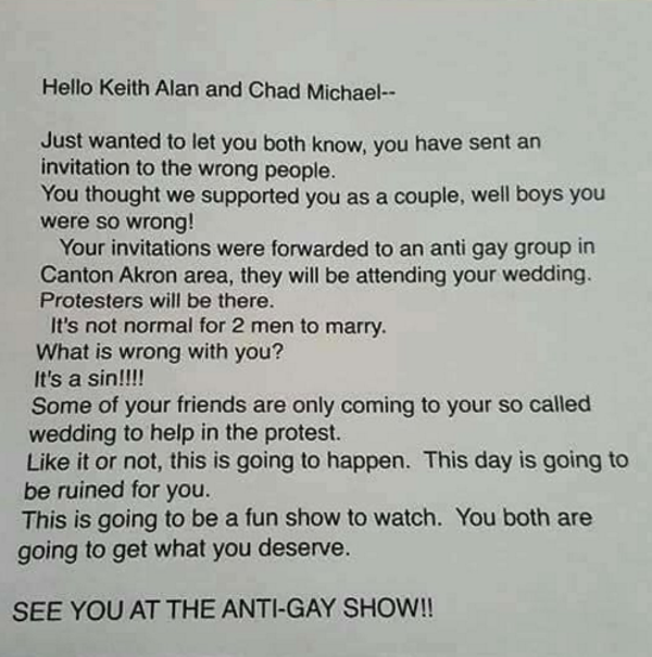 Canton Couple Receives Anti Gay Letter In Response To