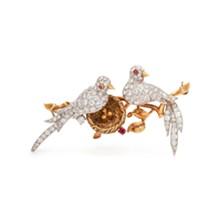 VAN CLEEF & ARPELS, DIAMOND AND RUBY 'LOVE BIRDS' BROOCH - Uploaded by Cowan's