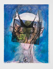 Huma Bhabha, Untitled, 2015; ink, patel, acrylic paint, and collage on paper. Courtesy of the artist and Salon 94, New York.
