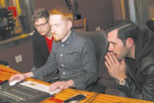 PHOTO BY EMANUEL WALLACE - Jim Stewart, center, works with Seafair's Joshua Riehl and Michael Flaherty to mix a new song.