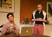 PHOTO BY TOM KONDILAS - Married couple Kevin (Gideon-Patrick Lorete) and Ted (Patrick Gladish).