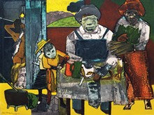 """The Family,"" Romare Bearden, etching, 1975"